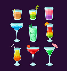 Set different alcoholic cocktails summer vector