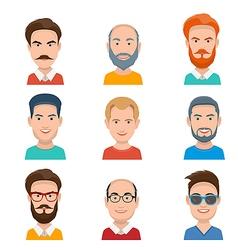 Set different male faces vector