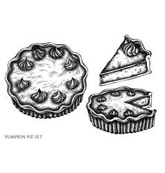 set hand drawn black and white pumpkin vector image
