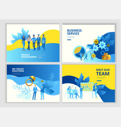 set landing page template people business service vector image