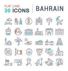 Set line icons bahrain vector