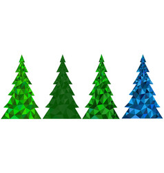 set of abstract polygonal christmas trees vector image