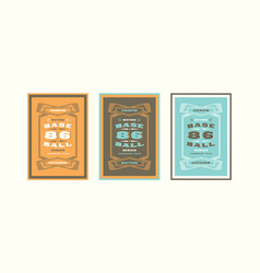Set of baseball card design in vintage style vector