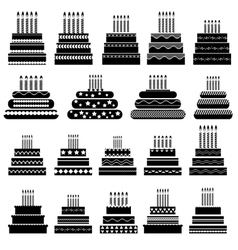 Set of Cake Silhouettes vector image