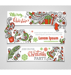 Set of red green and white Christmas banners vector