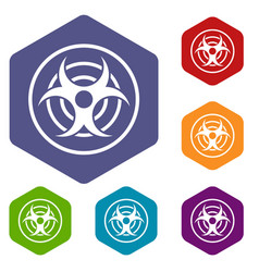 Sign biological threat icons set hexagon vector