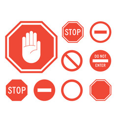 stop signs collection in red and white vector image