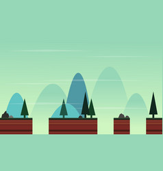 Style game background with landscape cartoon vector