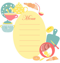 The menu sheet for kitchen vector
