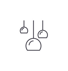 Three ceiling lamps line icon sign vector