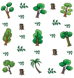 Tree and leaf style doodles vector