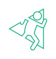 Triangle shape marathon run outline sport figure vector
