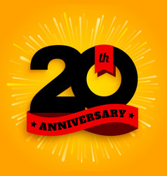 Twenty years anniversary logo with red ribbon vector