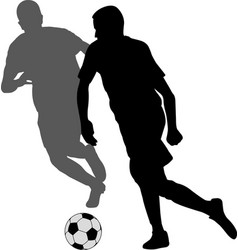 two soccer players kicking football in duel vector image