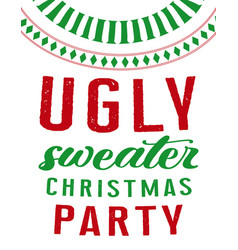Ugly sweater party card vector
