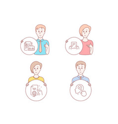 vacancy receive file and certificate icons vector image