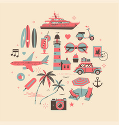 Vacation or holiday themed design element in four vector