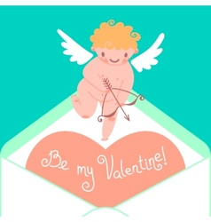 Valentines Day card with cute Cupids and hearts vector