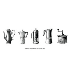 vintage coffee maker collection hand draw black vector image