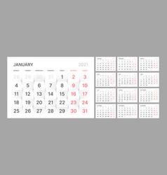 Wall quarterly calendar template for 2021 year vector