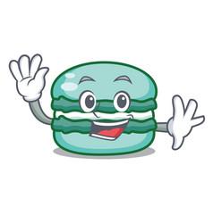 waving macaron character cartoon style vector image