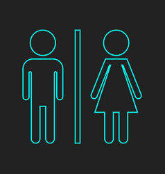 wc toilet neon icon men and women sign for vector image