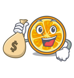 With money bag orange character cartoon style vector
