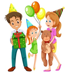 A happy family celebrating a birthday vector image vector image