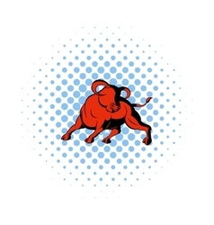 Bull icon in comics style vector image vector image