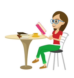 female student reading interesting book at table vector image