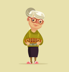 granny character hold pie vector image vector image