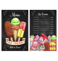 price menu for ice cream desserts cafe vector image vector image
