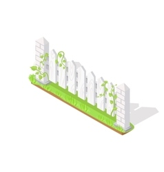 Wooden fence section isometric projection vector