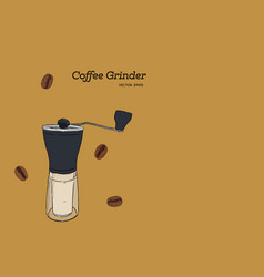 coffee grinder hand draw vector image vector image