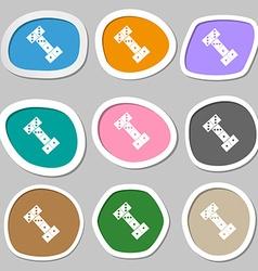 Domino symbols multicolored paper stickers vector