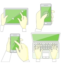 Hands Holding Digital Devices vector image vector image