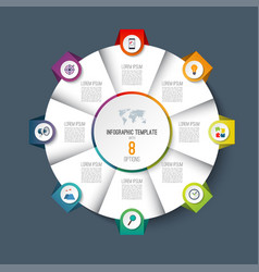 infographic pie chart circle with 8 options vector image
