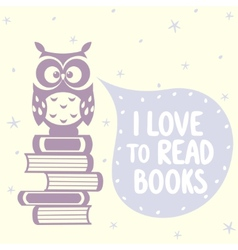 cute owls and books vector image