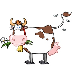 Dairy Cow With Flower In Mouth vector image vector image