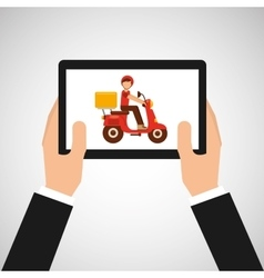 hand hold delivery food boy on scooter vector image vector image