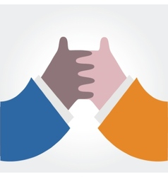 Hand shaking isolated on white vector image vector image