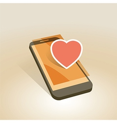 mobile device heart symbol vector image vector image