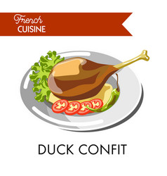 tasty duck confit from french cuisine isolated vector image vector image