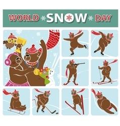 World snow dayBear championWinter sports vector image