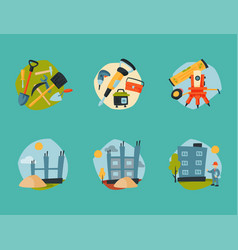 construction site workers aerial industry vector image vector image