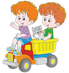 little boys with a toy truck vector image vector image