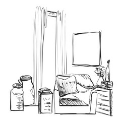 modern interior room sketch hand drawn chair and vector image