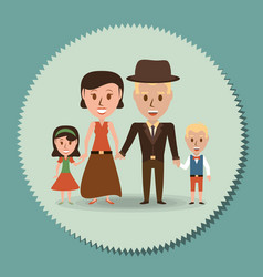 retro family parents with their children vector image