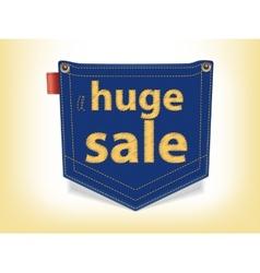 Sale Badge Blue Jeans Pocket Shaped vector image vector image