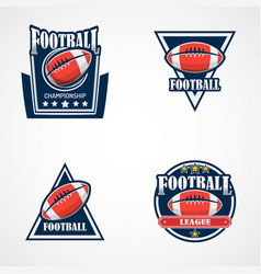 set of american football logo template college vector image